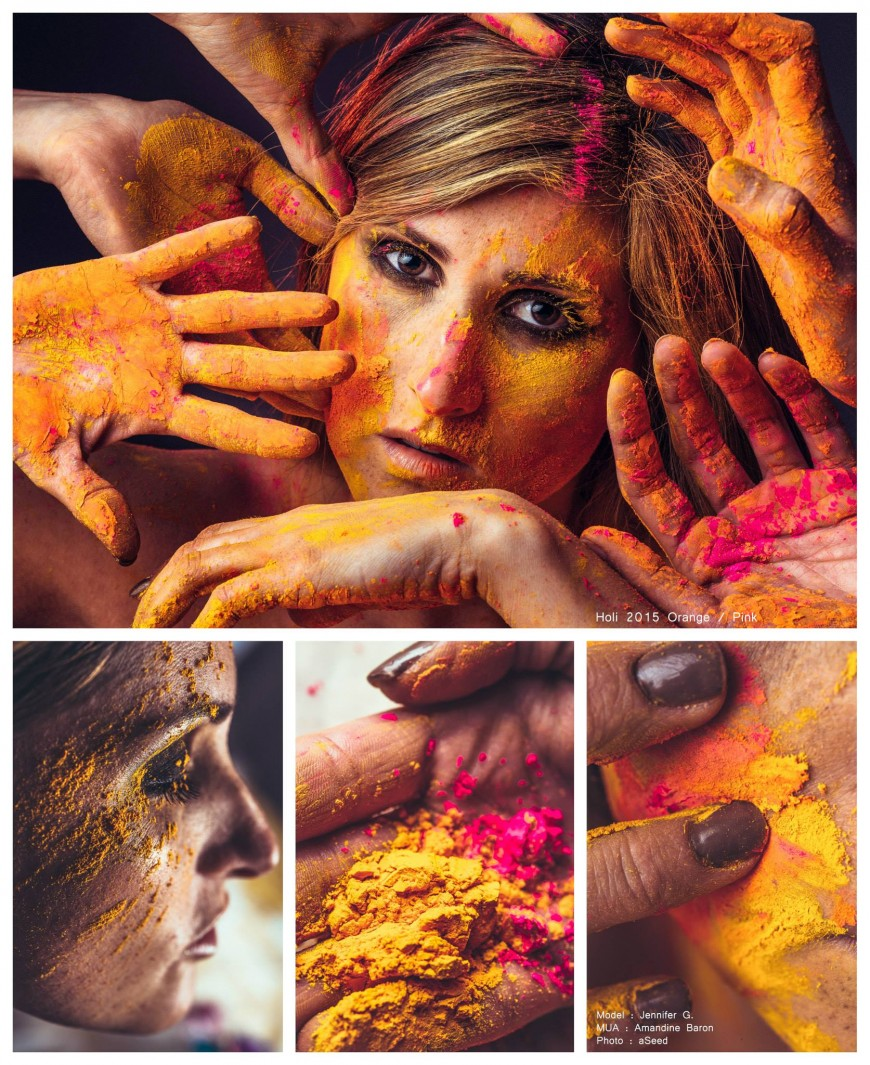 Holi color powders portrait